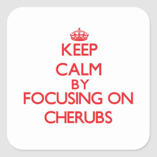 Keep Calm by focusing on Cherubs Square Stickers
