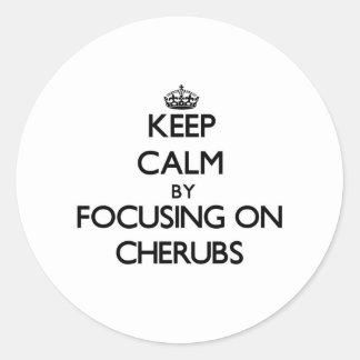 Keep Calm by focusing on Cherubs Round Stickers