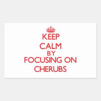 Keep Calm by focusing on Cherubs Rectangular Sticker