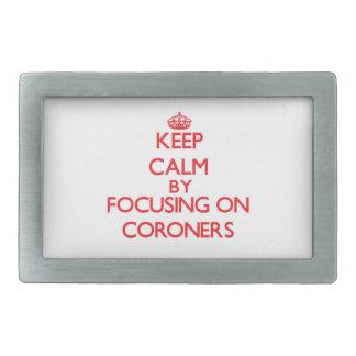 Keep Calm by focusing on Coroners Rectangular Belt Buckles