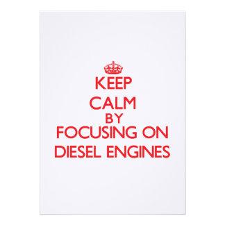 Keep Calm by focusing on Diesel Engines Custom Invite