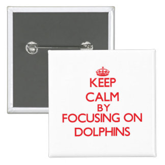 Keep Calm by focusing on Dolphins Pinback Buttons