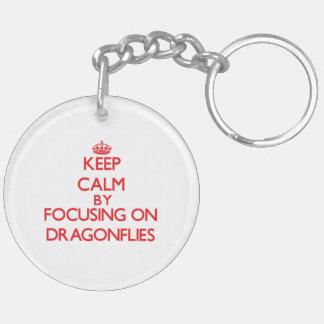 Keep Calm by focusing on Dragonflies Keychain