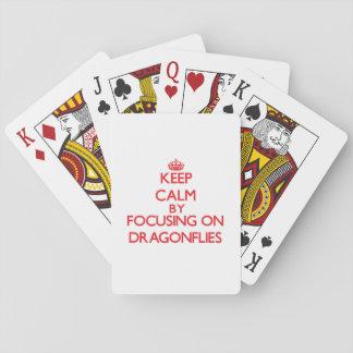 Keep Calm by focusing on Dragonflies Poker Deck