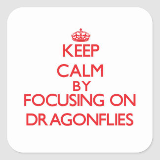 Keep Calm by focusing on Dragonflies Square Stickers