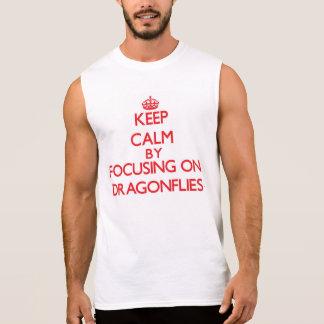 Keep Calm by focusing on Dragonflies Sleeveless T-shirt