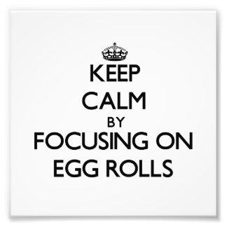 Keep Calm by focusing on Egg Rolls Photo Art