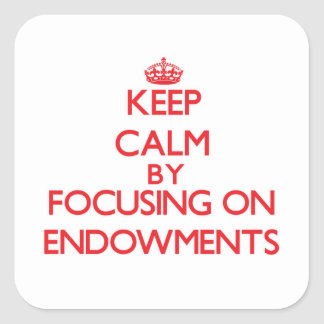 Keep Calm by focusing on ENDOWMENTS Stickers