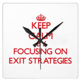 Keep Calm by focusing on EXIT STRATEGIES Wallclock