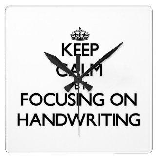 Keep Calm by focusing on Handwriting Wall Clocks