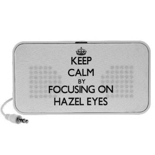 Keep Calm by focusing on Hazel Eyes iPhone Speakers