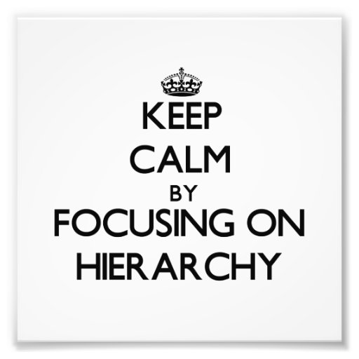 Keep Calm by focusing on Hierarchy Photo Art