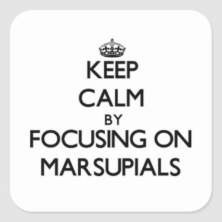 Keep Calm by focusing on Marsupials Square Sticker