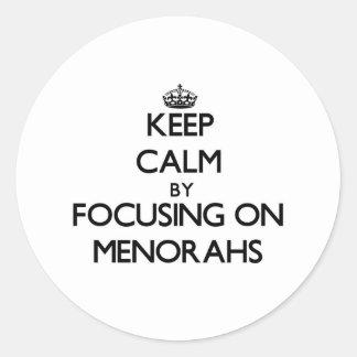 Keep Calm by focusing on Menorahs Sticker