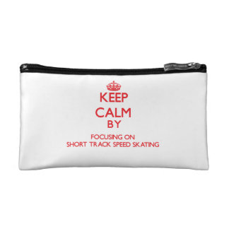 Keep calm by focusing on on Short Track Speed Skat Cosmetic Bag