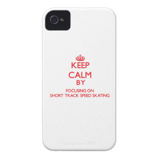 Keep calm by focusing on on Short Track Speed Skat iPhone 4 Case