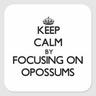 Keep Calm by focusing on Opossums Square Stickers