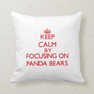 Keep calm by focusing on Panda Bears Throw Pillow