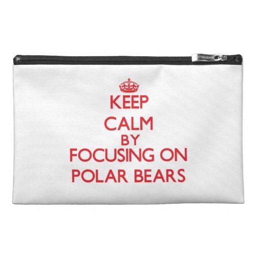 Keep calm by focusing on Polar Bears Travel Accessory Bags
