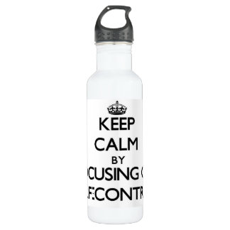 Keep Calm by focusing on Self-Control 24oz Water Bottle