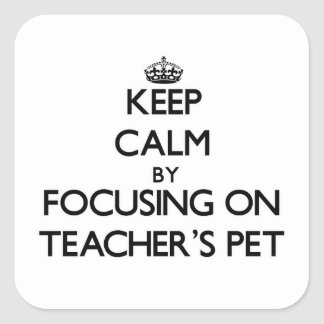 Keep Calm by focusing on Teacher'S Pet Square Stickers