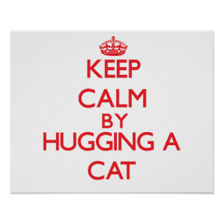 Keep calm by hugging a Cat Poster