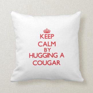 Keep calm by hugging a Cougar Throw Pillow