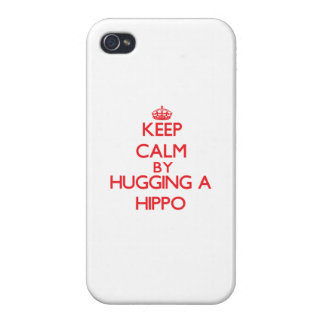 Keep calm by hugging a Hippo iPhone 4/4S Covers