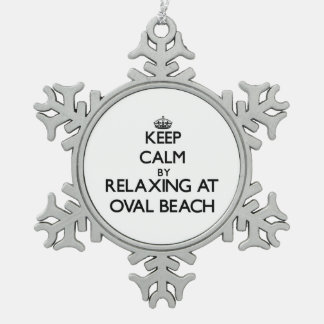Keep calm by relaxing at Oval Beach Michigan Ornament
