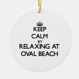 Keep calm by relaxing at Oval Beach Michigan Round Ceramic Ornament