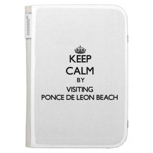 Keep calm by visiting Ponce De Leon Beach Florida Kindle Folio Cases