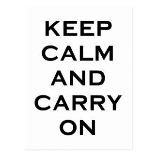 Keep Calm Carry On Postcard