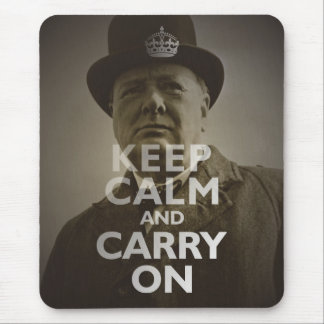 Keep Calm & Carry On Winston Churchill Mouse Pad