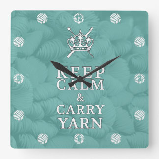 Keep Calm Carry Yarn CraftRoom {Dark} Wallclock
