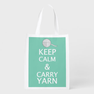 Keep Calm Carry Yarn Crafts {Dark} Reusable Grocery Bag