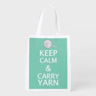 Keep Calm Carry Yarn {Dark} Reusable Grocery Bag