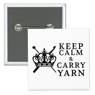 Keep Calm Carry Yarn {Light} 2 Inch Square Button