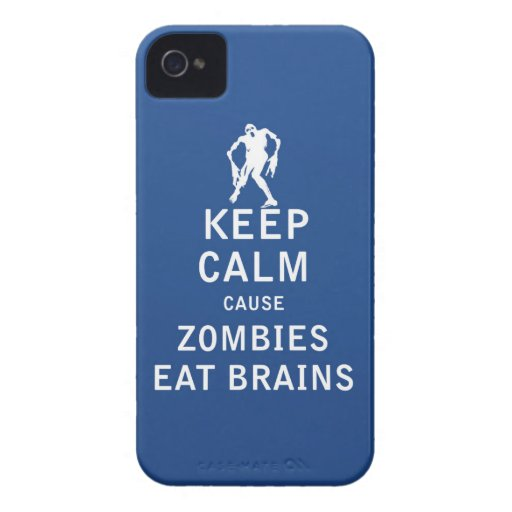 Keep Calm Cause Zombies Eat Brains Case-Mate iPhone 4 Case