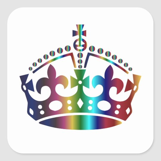 Keep Calm Colours Crown - Change background Square Sticker