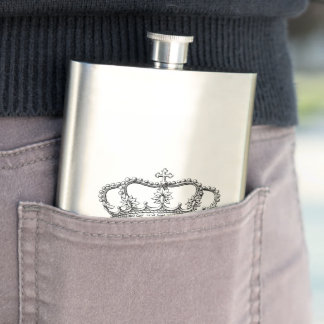 Keep Calm Crown Hip Flask