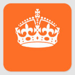 KEEP CALM CROWN Icon on Orange Customize This Square Sticker