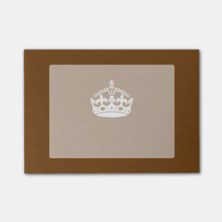 Keep Calm Crown on Brown Post-it Notes