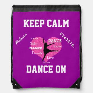 Keep Calm Dance On Drawstring Backpack