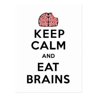 Keep Calm Eat Brains Postcard