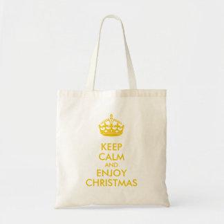 Keep Calm Enjoy Christmas Medium Brown Kraft Paper Tote Bag