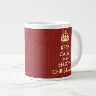 Keep Calm Enjoy Christmas Red Kraft Paper Giant Coffee Mug