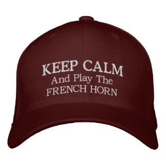 Keep Calm French Horn Music Embroidered Hat