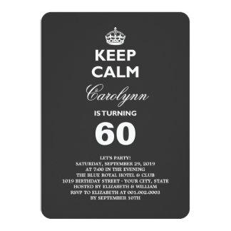 Keep Calm Funny Milestone Birthday Party Invite Custom Invitation