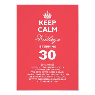 Keep Calm Funny Milestone Birthday Party Invite Personalized Invitation
