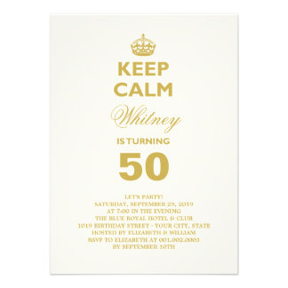 Keep Calm Funny Milestone Birthday Party Invite Invite